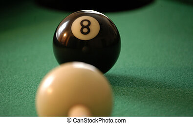 Eight ball corner pocket - Eight ball ready to be struck by...