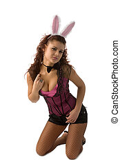 sexy rabbit - portrait of young woman dressed as sexy rabbit