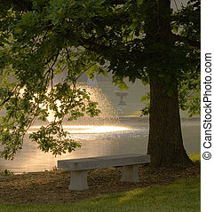 Spring Grove cemetery - shady bench overlooking historical...