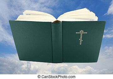 Cortando, bíblia, aberta, sobre, céu, livro, caminho