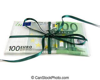 money as a gift - wrapped money with green ribbon