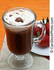 Closeup of coffee with cream (Caffe Borgia) with some...