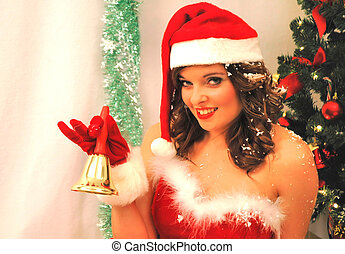 Christmas bell - Santa girl with bell