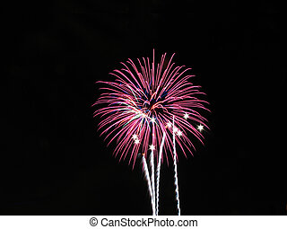Fireworks with Sparklers - Pink and blue fireworks with...