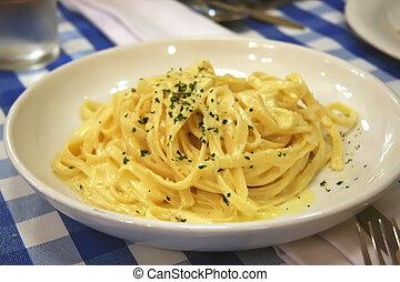 Fettuccini carbonara italian pasta with cream sauce