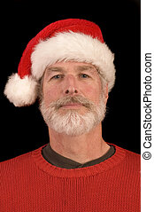 Middle-aged man in Santa Hat