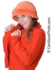feel cosy - nice girl in red fedora and red sweater