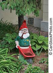 Garden gnome - A gnome standing in a garden