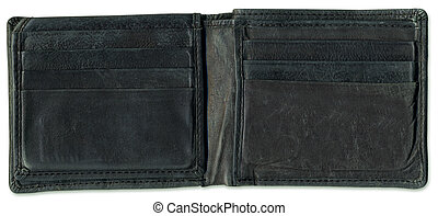Old open leather wallet