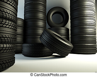 tyres group - brand new tyres, 3d rendering of car wheel