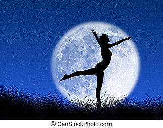 Dancer in the moon - Woman dancing in front of the moon