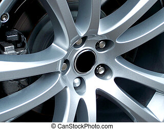 Alloy Wheel - A close up photo of a sports car alloy wheel...