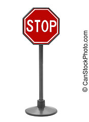 Stop sign toy isolated over a white background