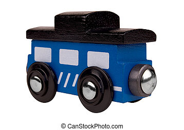 Toy wood train caboose - Colorful caboose train toy isolated...