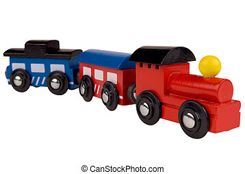 Toy wood train - Colorful train toy isolated on white...