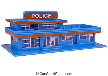 toy Police Station in the color of blue isolated over a...
