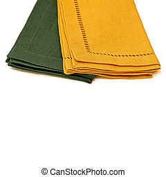 Napkins - Two table cloth napkins green and yellow