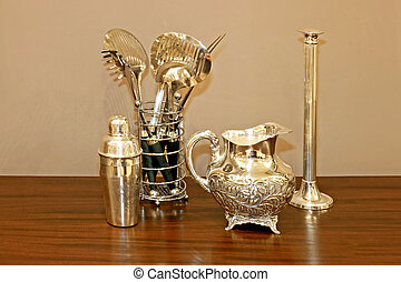 Silverware - Silver kitchen utensil bowl vase and shaker