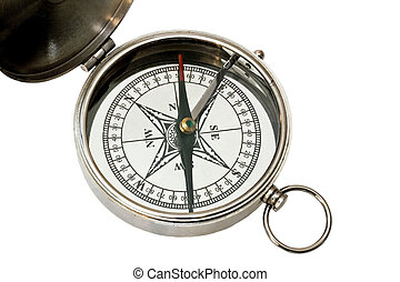 Compass isolated - Analogue silver metal compass isolated on...