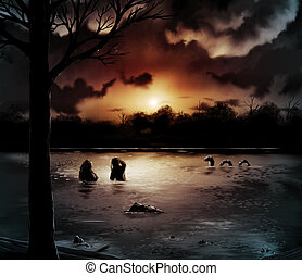 Night Lake - mysterious silhouettes gather as the sun sets...