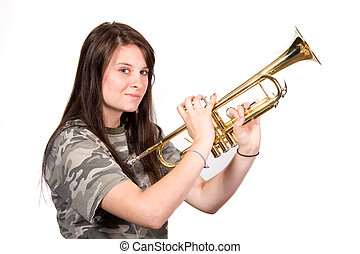 Teenager with Trumpet - Teenager holding up trumpet shot...