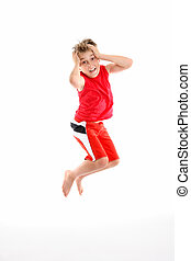 Oh no - panic fear phobia - A panicked boy mid air grabs his...