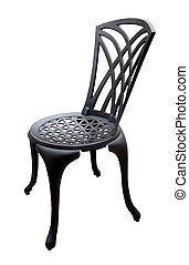 Black Iron Patio Chair isolated with clipping path