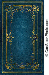 Old blue leather texture with gold decorative frame