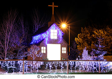 christmas church decoration night scene