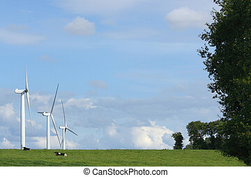 Clean power - Landscape with three windmills in the...