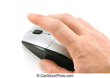 Click the mouse - Hand of a man clicking a mouse button, top...