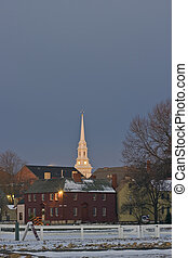 Church Steeple lit up in early morning