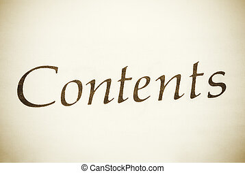 contents - book concept, focus point on center,toned,special...