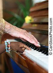 Ebony and Ivory Harmony - One older white hand and one...