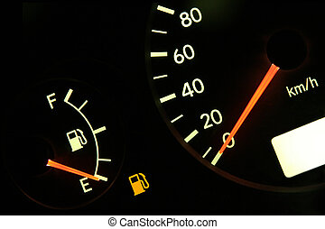 Out of gas - Fuel gauge in red, empty tank