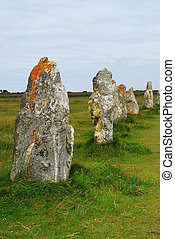 Megalithic monuments in Brittany - Row of prehistoric...