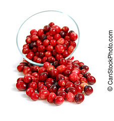Cranberries in a bowl - Fresh red cranberries in a glass...