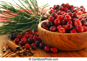 Cranberries in bowls - Fresh red cranberries in wooden bowls...