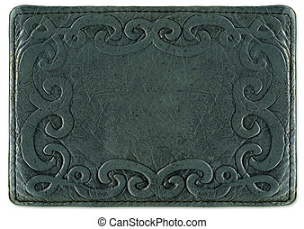 Leather texture with pattern frame backround in a vintage...