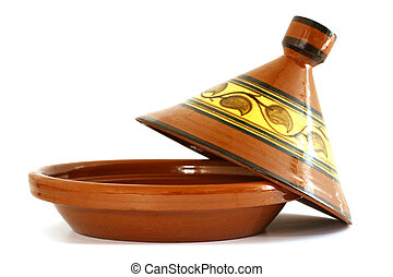 Tagine - Moroccan Tagine isolated on white, oriental pot for...