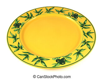Yellow empty plate - Yellow decorated empty plate isolated...
