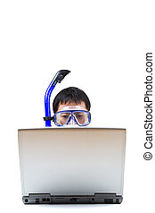 Snorkeling businessman - An isolated shot of a businessman...