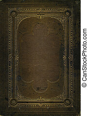 Old brown leather texture with gold decorative frame....