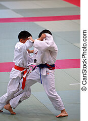 Karate kids - The karate kids fighting for the competition