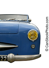 Vintage blue car, face view, isolated on white with clipping...