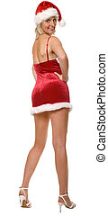 santa - sexy santa girl standing isolated on white