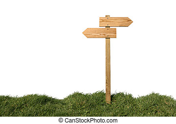 Which direction ? - Wooden direction sign isolated on white,...