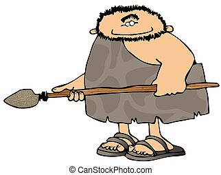 Caveman With A Spear - This illustration depicts a caveman...