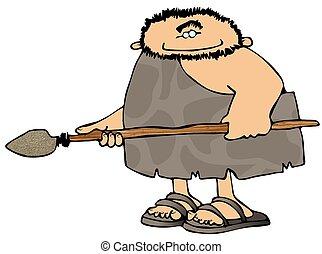 Cavernícola, con, Un, lanza
