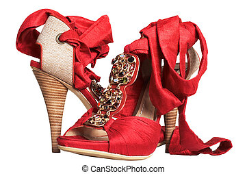 shoes with tapes - Female red shoes with tapes on a white...